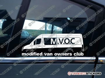 MVOC modified van owners club sticker -for VW Crafter van - Long with window